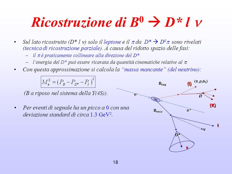 18 Ricostruzione di B 0 D* l Sul lato ricostruito (D* l ) solo il leptone e il da D* D 0 sono rivelati (tecnica di ricostruzione parziale). A causa de