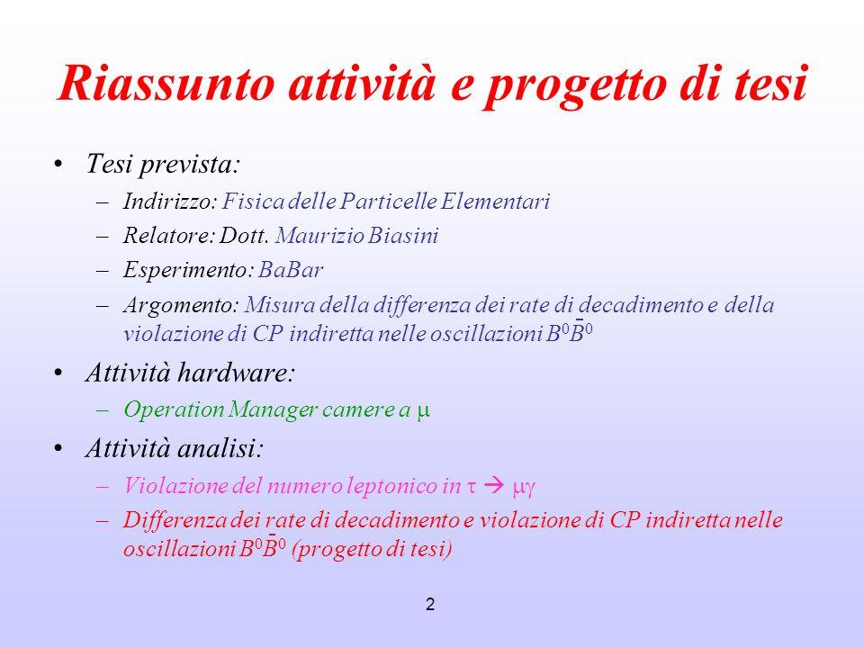 2 Riassunto attività e progetto di tesi Tesi prevista: –Indirizzo: Fisica delle Particelle Elementari –Relatore: Dott. Maurizio Biasini –Esperimento: