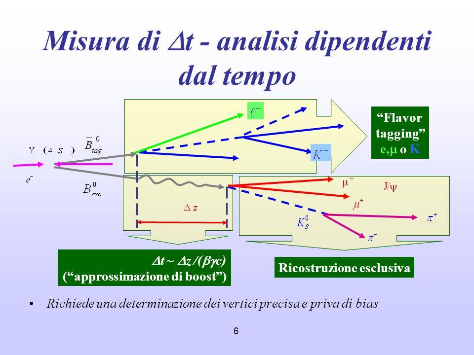 6 Misura di t - analisi dipendenti dal tempo Richiede una determinazione dei vertici precisa e priva di bias 0 tag B Flavor tagging e, o K Ricostruzio