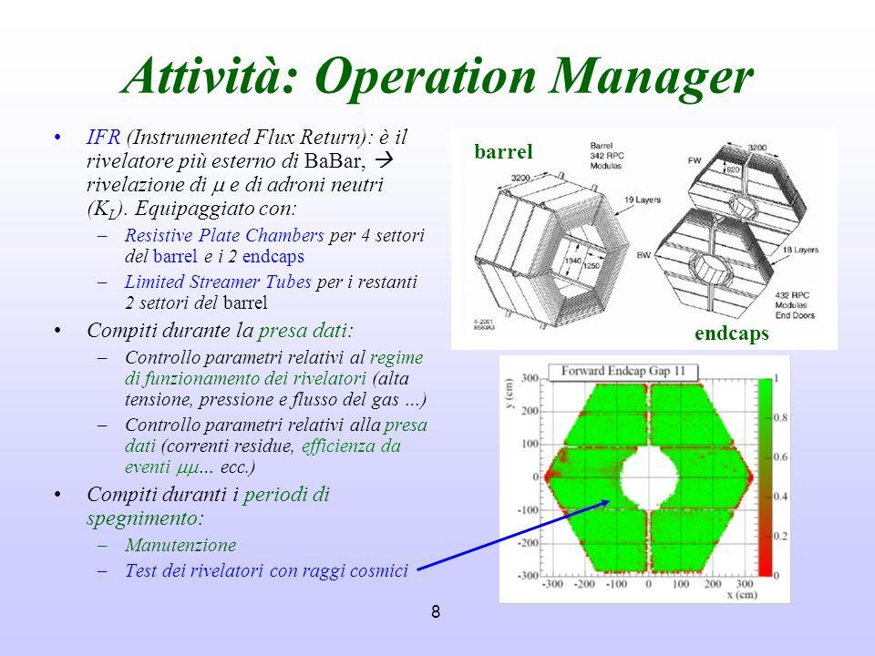 8 Attività: Operation Manager IFR (Instrumented Flux Return): è il rivelatore più esterno di BaBar, rivelazione di e di adroni neutri (K L ). Equipagg