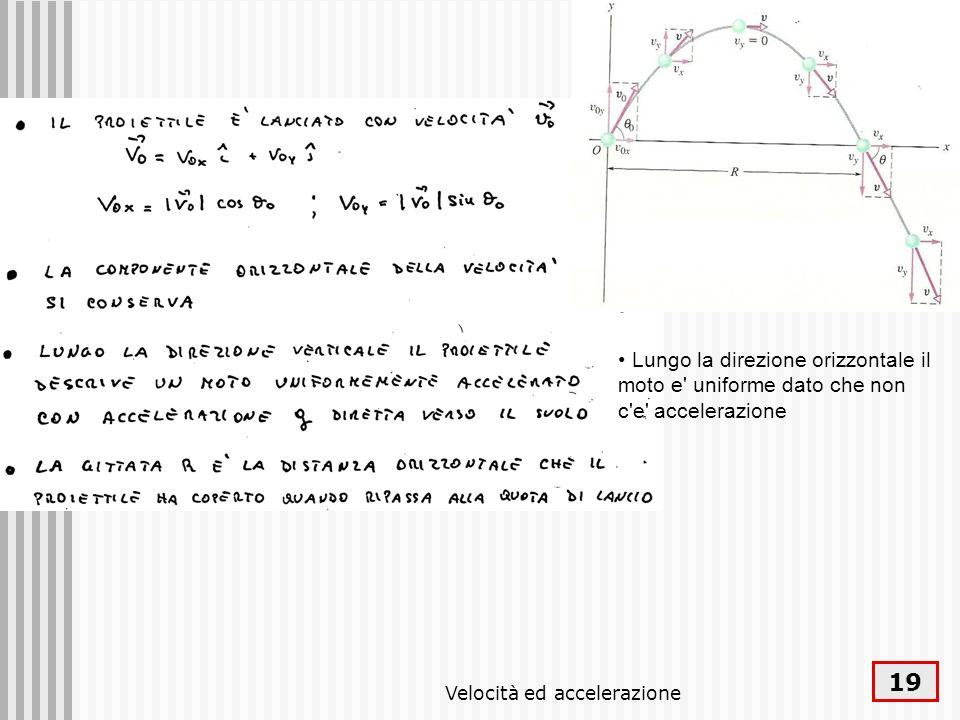 Velocità ed accelerazione 19 Lungo la direzione orizzontale il moto e' uniforme dato che non c'e' accelerazione