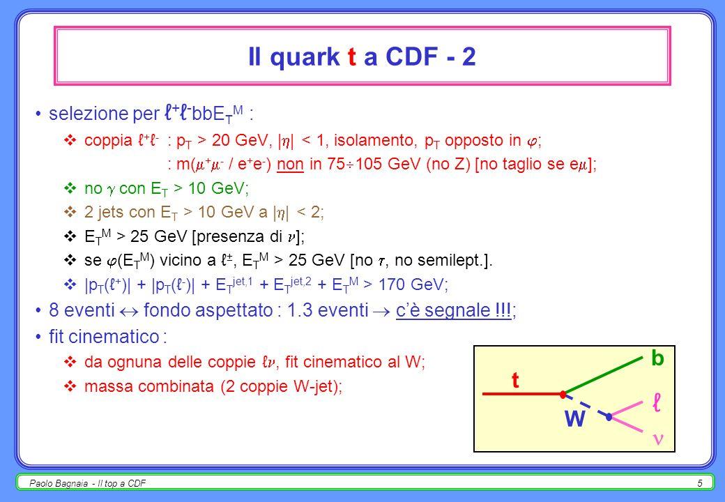 4 Il quark t a CDF - 1 scoperta : marzo 1995 (qui descrivo lanalisi del 1998-99); risultati simili dallaltro esperimento di Fermilab (D0); L INT = Ldt = 110 pb -1 ; canale golden : pp t t X W - b - b [ = e / ] W + b - b t b W _ _ _ __