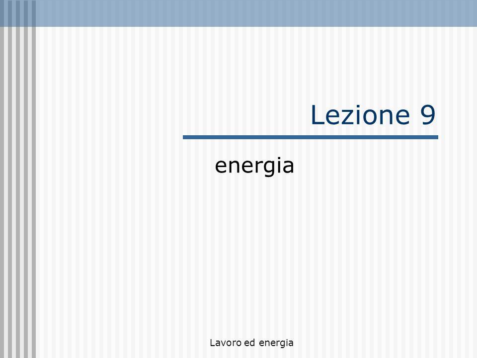 Lavoro ed energia Lezione 9 energia