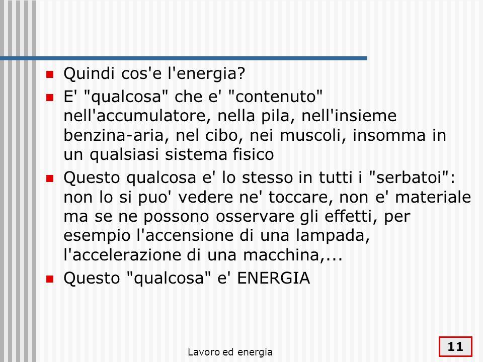 Lavoro ed energia 11 Quindi cos'e l'energia? E'