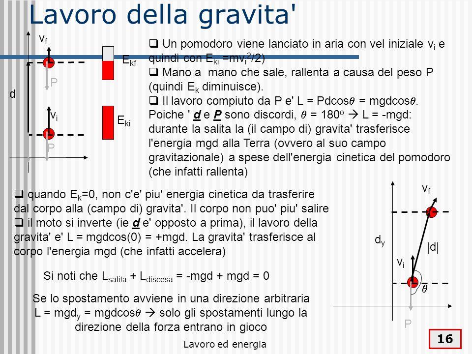 Lavoro ed energia 16 Lavoro della gravita d vfvf vivi E ki E kf P P Un pomodoro viene lanciato in aria con vel iniziale v i e quindi con E ki =mv i 2 /2) Mano a mano che sale, rallenta a causa del peso P (quindi E k diminuisce).