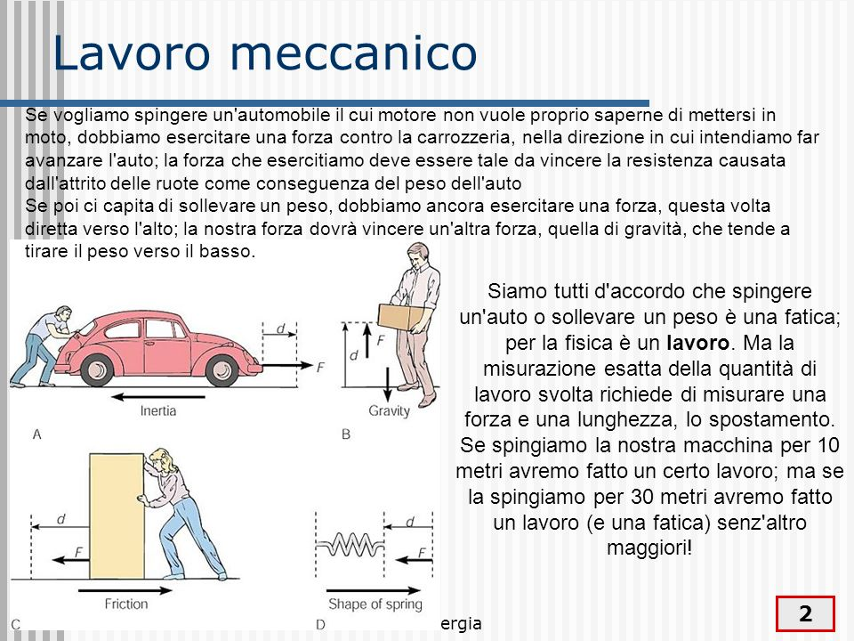 Lavoro ed energia 2 Lavoro meccanico Siamo tutti d'accordo che spingere un'auto o sollevare un peso è una fatica; per la fisica è un lavoro. Ma la mis