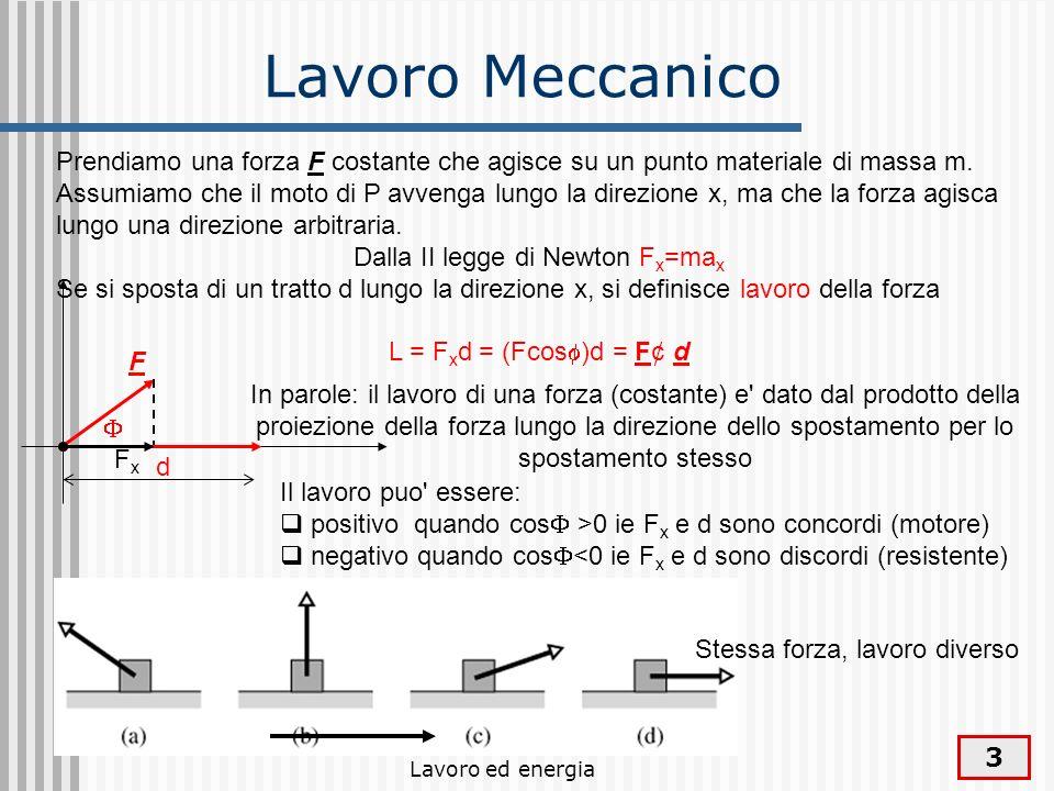 Lavoro ed energia 14 Energia cinetica Il lavoro compiuto dalla forza e pari alla variazione della quantita E k = mv 2 /2 fra lo stato di moto iniziale v o e quello finale v f L = E k = E kf – E ki = mv fx2 /2 – mv ox 2 /2 che prende il nome di energia cinetica d F vovo vfvf Prendiamo una forza F costante che agisce su un punto materiale di massa m.