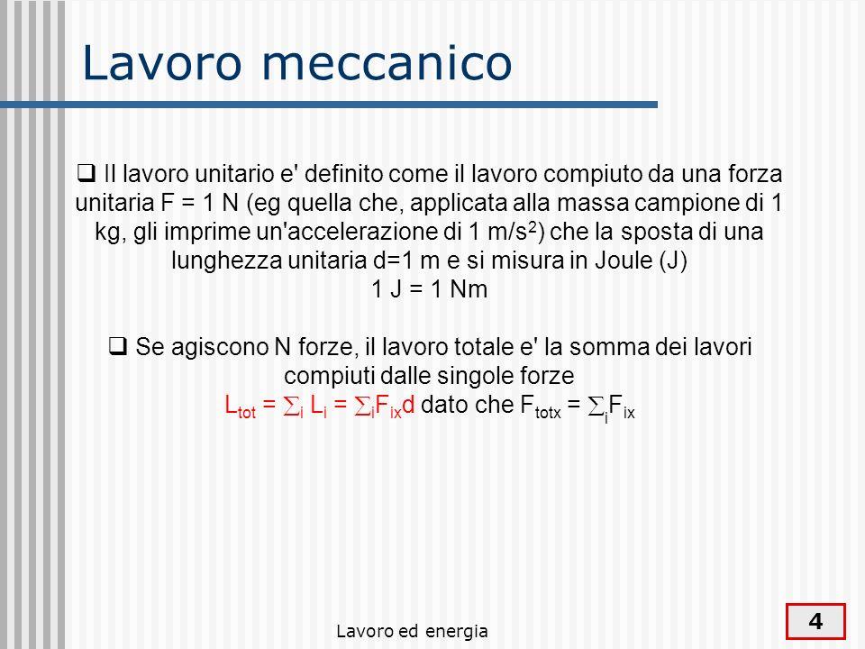 Lavoro ed energia 4 Lavoro meccanico Il lavoro unitario e definito come il lavoro compiuto da una forza unitaria F = 1 N (eg quella che, applicata alla massa campione di 1 kg, gli imprime un accelerazione di 1 m/s 2 ) che la sposta di una lunghezza unitaria d=1 m e si misura in Joule (J) 1 J = 1 Nm Se agiscono N forze, il lavoro totale e la somma dei lavori compiuti dalle singole forze L tot = i L i = i F ix d dato che F totx = i F ix