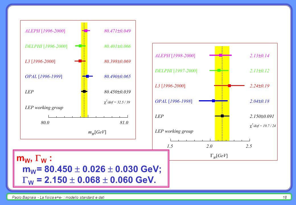 Paolo Bagnaia - La fisica e+e- : modello standard e dati17 (W + W - ), (ZZ)