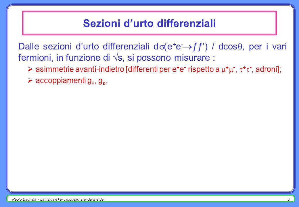 Paolo Bagnaia - La fisica e+e- : modello standard e dati2 la lineshape a LEP I [si chiama lineshape la sezione durto ƒ ( s), ove ƒ è uno dei canali di decadimento dello Z, e + e -, + -, + -, adroni] la lineshape mostra il caratteristico andamento a campana, dovuto alla risonanza [i.e.