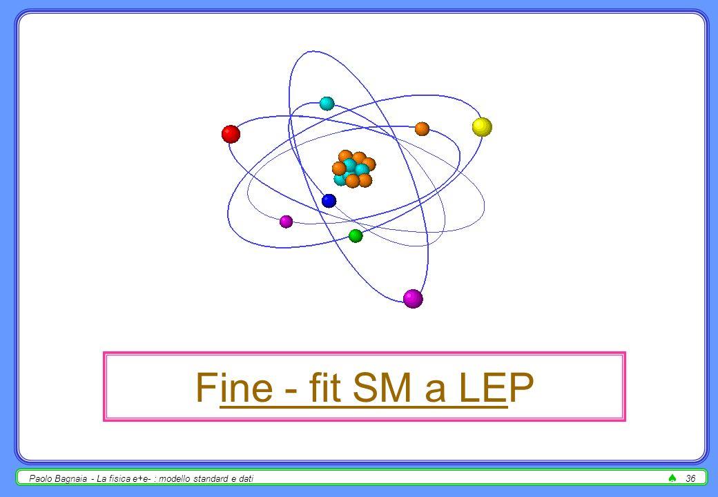 Paolo Bagnaia - La fisica e+e- : modello standard e dati35 la figura di LEP più citata (assieme alla risonanza dello Z) 2 (fit) in funzione di m H