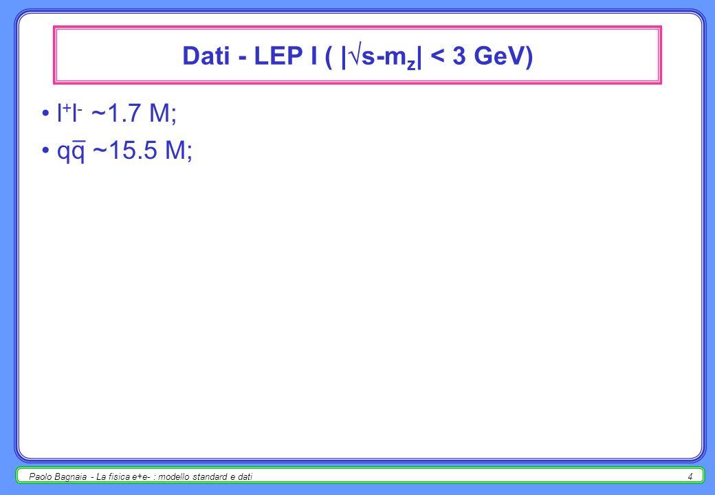 Paolo Bagnaia - La fisica e+e- : modello standard e dati3 Sezioni durto differenziali Dalle sezioni durto differenziali d (e + e - ƒƒ) / dcos, per i vari fermioni, in funzione di s, si possono misurare : asimmetrie avanti-indietro [differenti per e + e - rispetto a + -, + -, adroni]; accoppiamenti g v, g a.