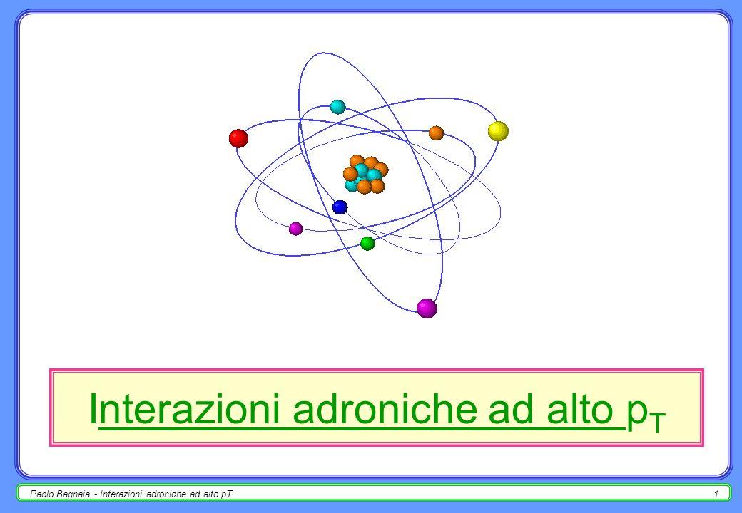 Paolo Bagnaia - Interazioni adroniche ad alto pT11 cinematica dei processi partonici stato iniziale : p 1 = [½ s,½ s,~0, ~0];p i = [½x i s,½x i s,~0, ~0]; p 2 = [½ s,-½ s,~0, ~0];p k = [½x k s,-½x k s,~0, ~0]; somma : CM 12 : [½ s(x i + x k ), ½ s(x i - x k ), ~0, ~0]; CM ik : [ ŝ, 0, 0, 0] ŝ = [½ s(x i + x k )] 2 – [½ s(x i - x k )] 2 = s x i x k.