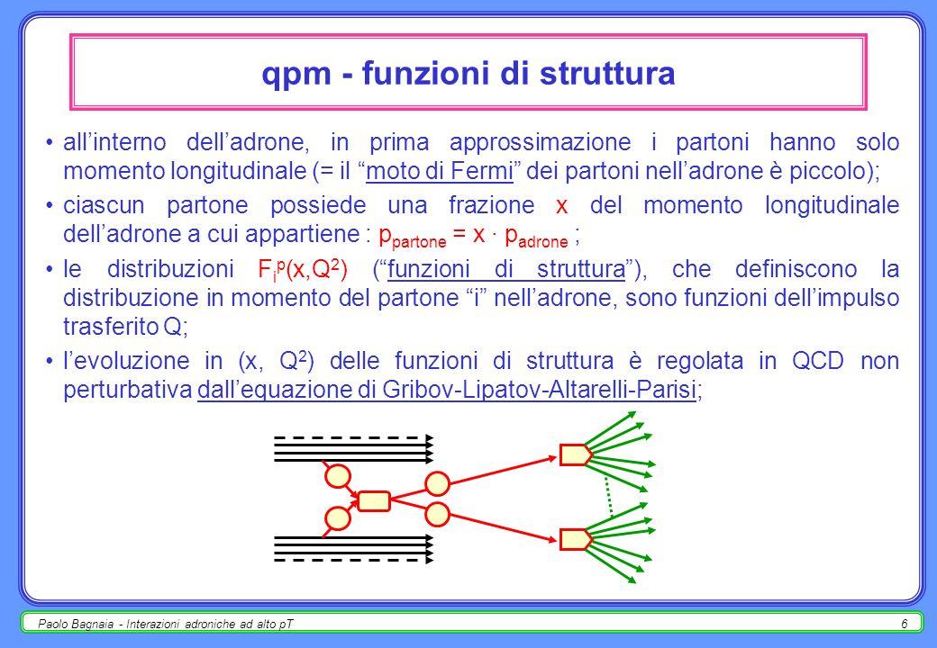 Paolo Bagnaia - Interazioni adroniche ad alto pT5 quark-parton model - partoni di stato iniziale le collisioni adroniche ad alto p T (=piccola distanza) sono studiabili come un succedersi di processi che fattorizzano (= si svolgono uno dopo laltro); d urante le collisioni, i partoni si comportano come particelle puntiformi quasi-libere (cfr.