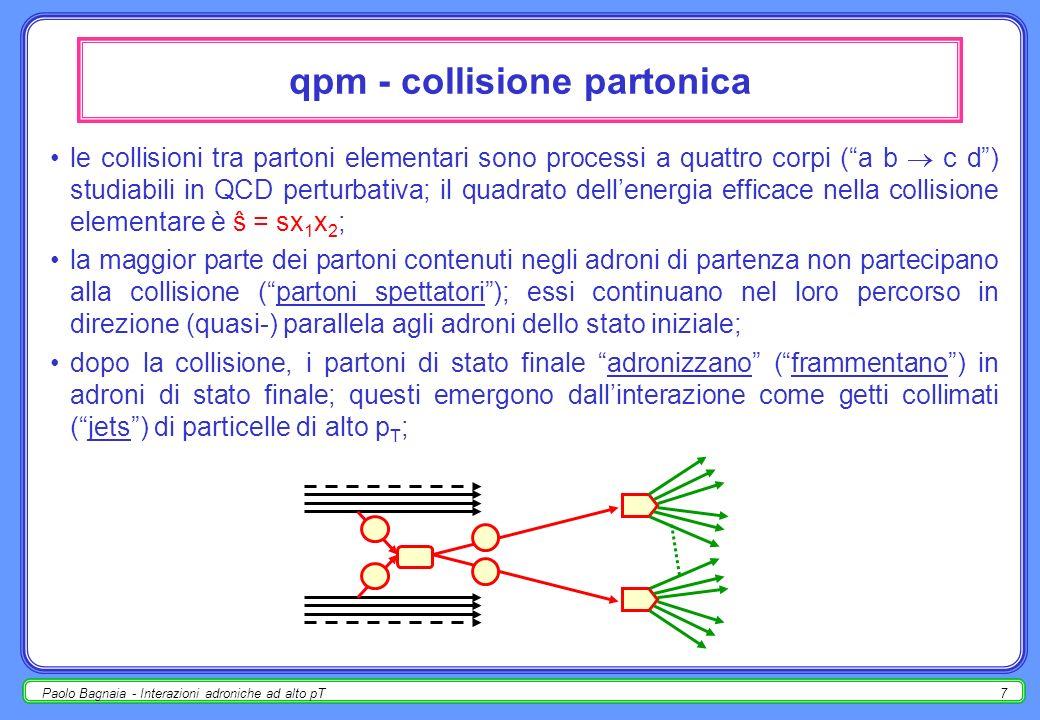Paolo Bagnaia - Interazioni adroniche ad alto pT7 qpm - collisione partonica le collisioni tra partoni elementari sono processi a quattro corpi (a b c d) studiabili in QCD perturbativa; il quadrato dellenergia efficace nella collisione elementare è ŝ = sx 1 x 2 ; la maggior parte dei partoni contenuti negli adroni di partenza non partecipano alla collisione (partoni spettatori); essi continuano nel loro percorso in direzione (quasi-) parallela agli adroni dello stato iniziale; dopo la collisione, i partoni di stato finale adronizzano (frammentano) in adroni di stato finale; questi emergono dallinterazione come getti collimati (jets) di particelle di alto p T ;