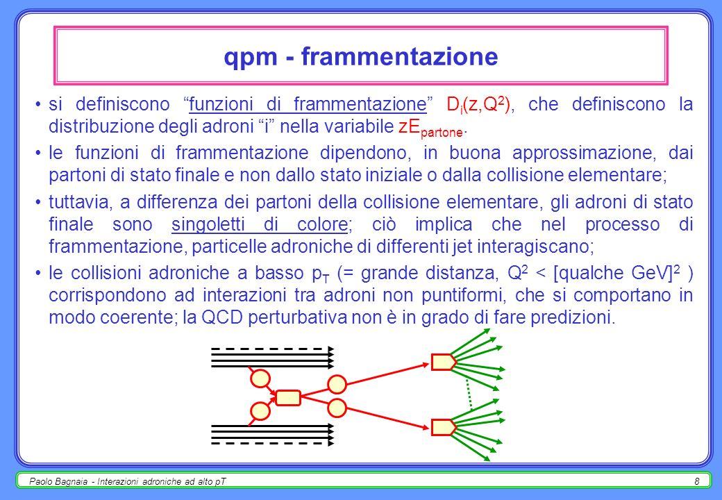 Paolo Bagnaia - Interazioni adroniche ad alto pT8 qpm - frammentazione si definiscono funzioni di frammentazione D i (z,Q 2 ), che definiscono la distribuzione degli adroni i nella variabile zE partone.