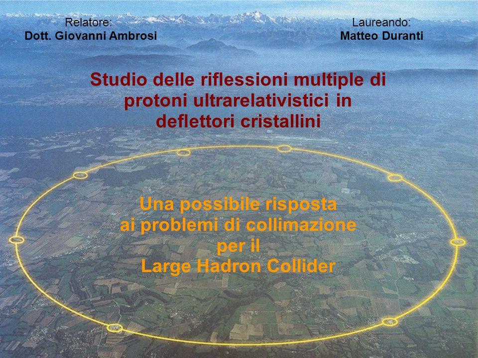 Relatore: Laureando: Dott. Giovanni Ambrosi Matteo Duranti Studio delle riessioni multiple di protoni ultrarelativistici in deettori cristallini Una p