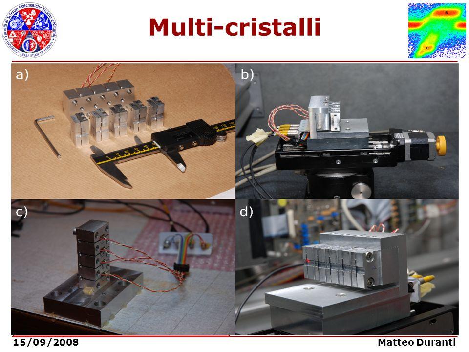 15/09/2008 Matteo Duranti Multi-cristalli Aumento della deflessione angolare tramite più cristalli in sequenza: Angolo di deflessione: Efficienza di d