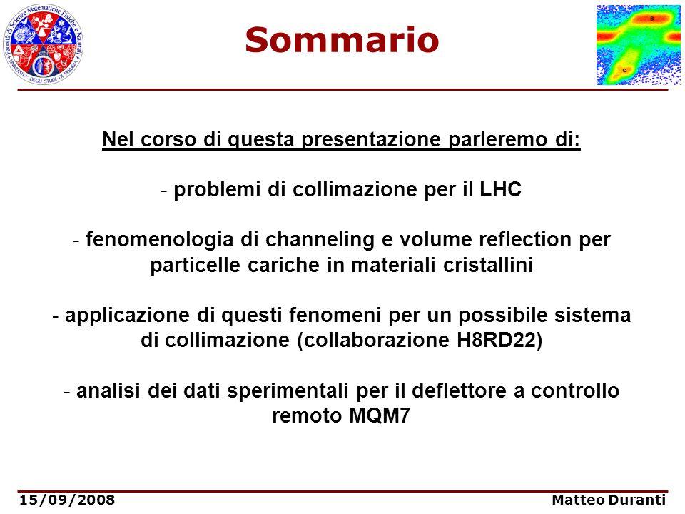 15/09/2008 Matteo Duranti Sommario Nel corso di questa presentazione parleremo di: - problemi di collimazione per il LHC - fenomenologia di channeling