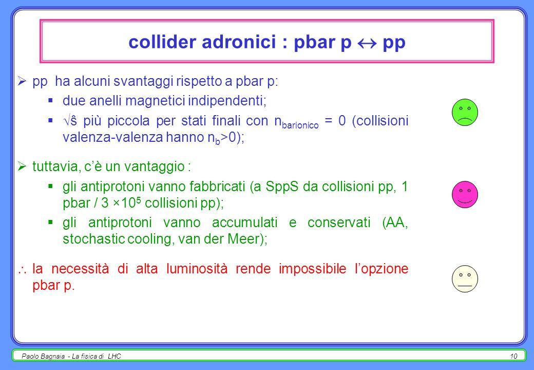 Paolo Bagnaia - La fisica di LHC9 collider adronici e + e - - conclusione personale [in quel che segue, pp anche pbar p] a tecnologia e costi paragona