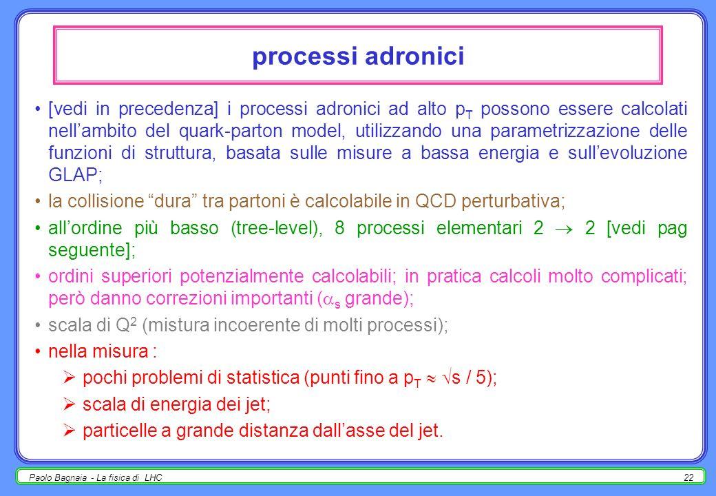 Paolo Bagnaia - La fisica di LHC21 sezione durto inclusiva la produzione di particelle singole e di jet in interazioni adroniche di alta energia è spe