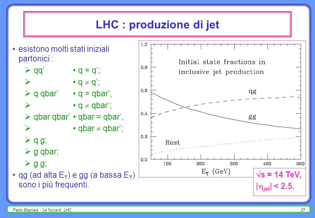 Paolo Bagnaia - La fisica di LHC26 massa combinata jet-jet m(j 1 j 2 ) ŝ; ogni particella nuova 2 jet, picco di risonanza : Z, W, …; Q Qbar nuovi; … d