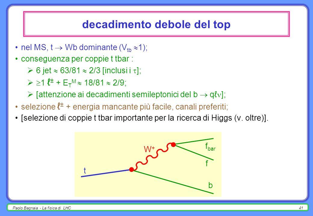 Paolo Bagnaia - La fisica di LHC40 produzione singola di top sempre mediata da una corrente debole carica, tramite un W (reale o virtuale); non trascu