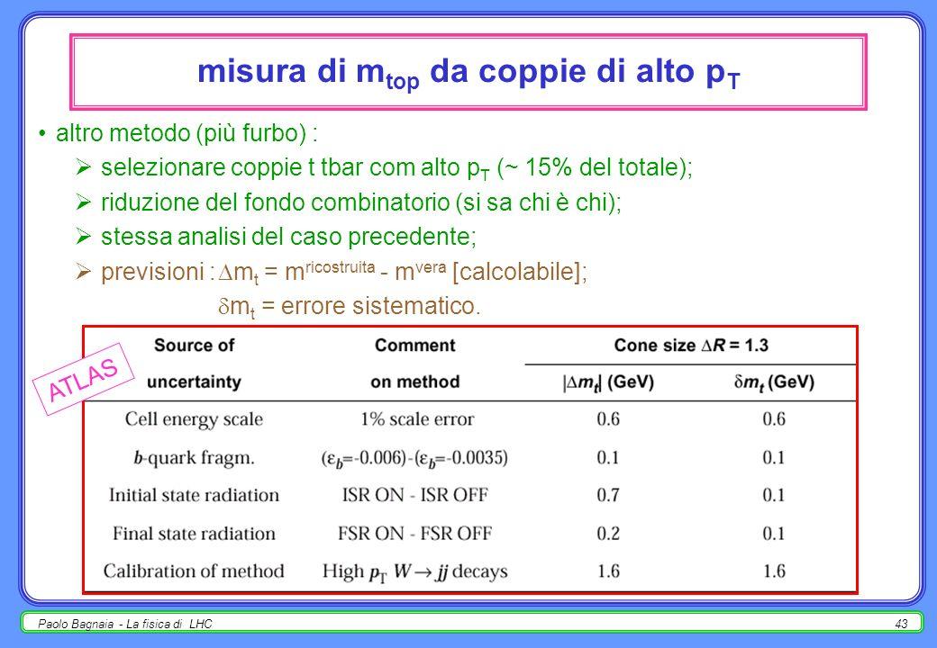Paolo Bagnaia - La fisica di LHC42 misura di m top nel fit e-w a m Higgs, (m W ) = 20 MeV porta lo stesso errore che (m top ) = 2 GeV; vari metodi per