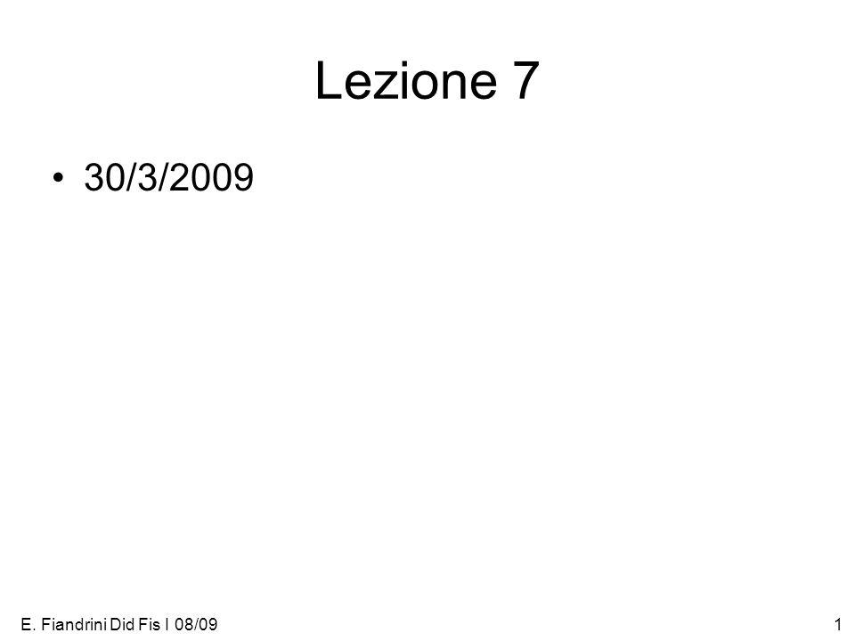 E. Fiandrini Did Fis I 08/091 Lezione 7 30/3/2009