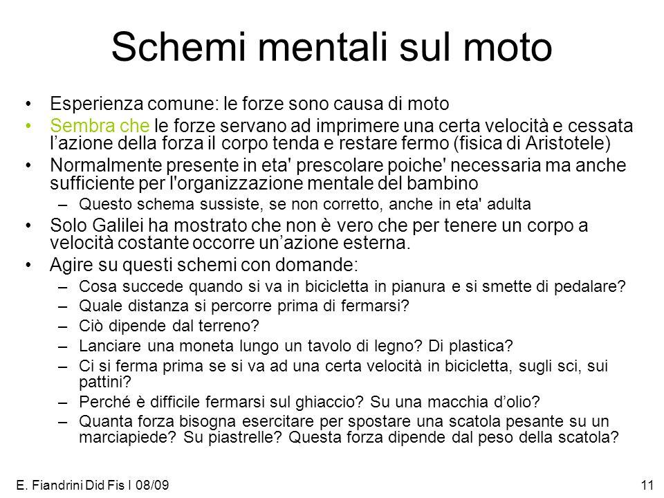 E. Fiandrini Did Fis I 08/0911 Schemi mentali sul moto Esperienza comune: le forze sono causa di moto Sembra che le forze servano ad imprimere una cer