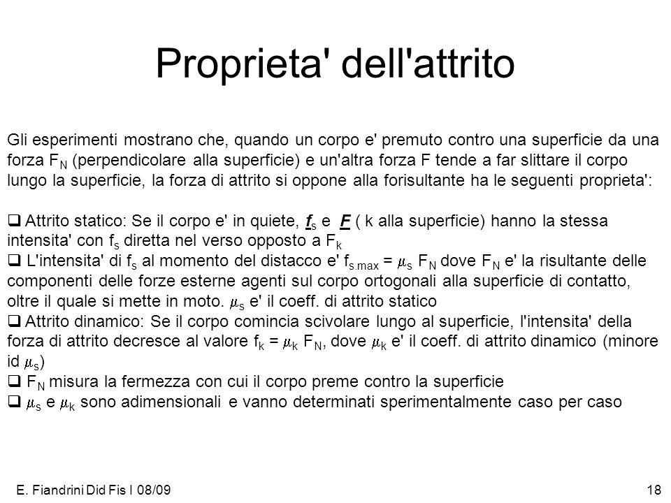 E. Fiandrini Did Fis I 08/0918 Proprieta' dell'attrito Gli esperimenti mostrano che, quando un corpo e' premuto contro una superficie da una forza F N