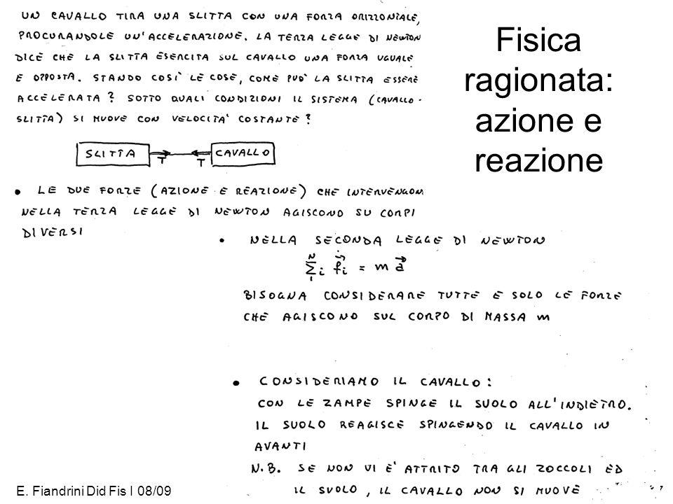 E. Fiandrini Did Fis I 08/0927 Fisica ragionata: azione e reazione