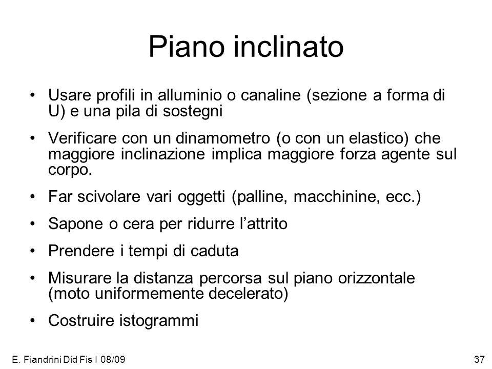 E. Fiandrini Did Fis I 08/0937 Piano inclinato Usare profili in alluminio o canaline (sezione a forma di U) e una pila di sostegni Verificare con un d