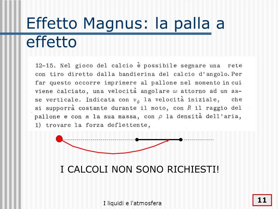 I liquidi e l'atmosfera 11 Effetto Magnus: la palla a effetto I CALCOLI NON SONO RICHIESTI!