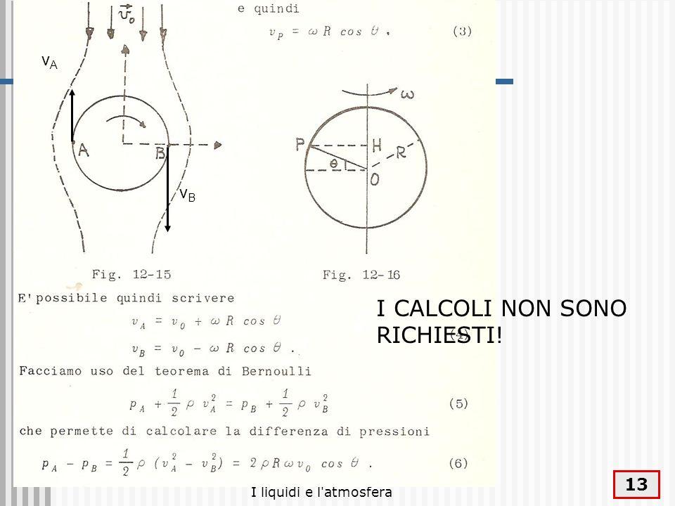 I liquidi e l'atmosfera 13 vAvA vBvB I CALCOLI NON SONO RICHIESTI!