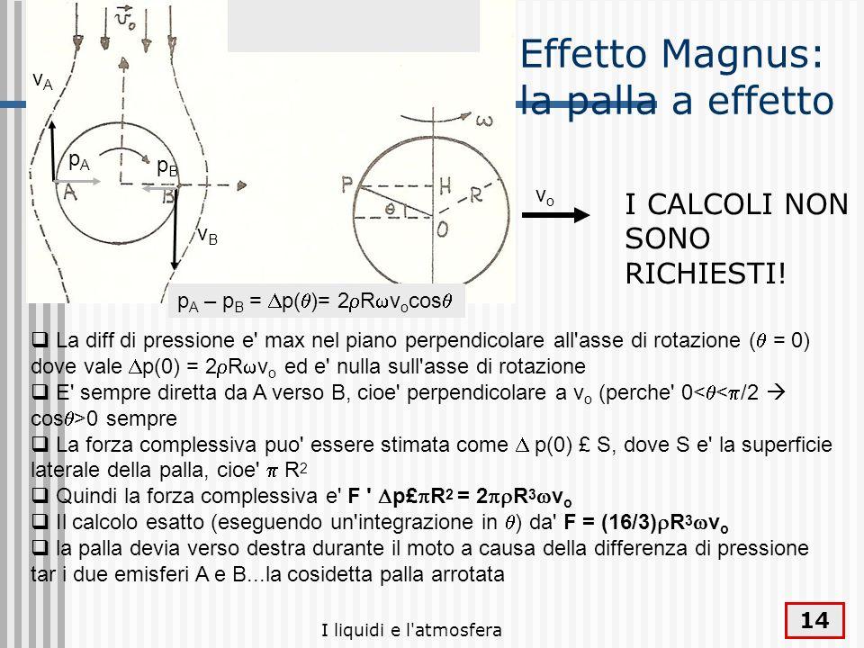 I liquidi e l'atmosfera 14 La diff di pressione e' max nel piano perpendicolare all'asse di rotazione ( = 0) dove vale p(0) = 2 R v o ed e' nulla sull