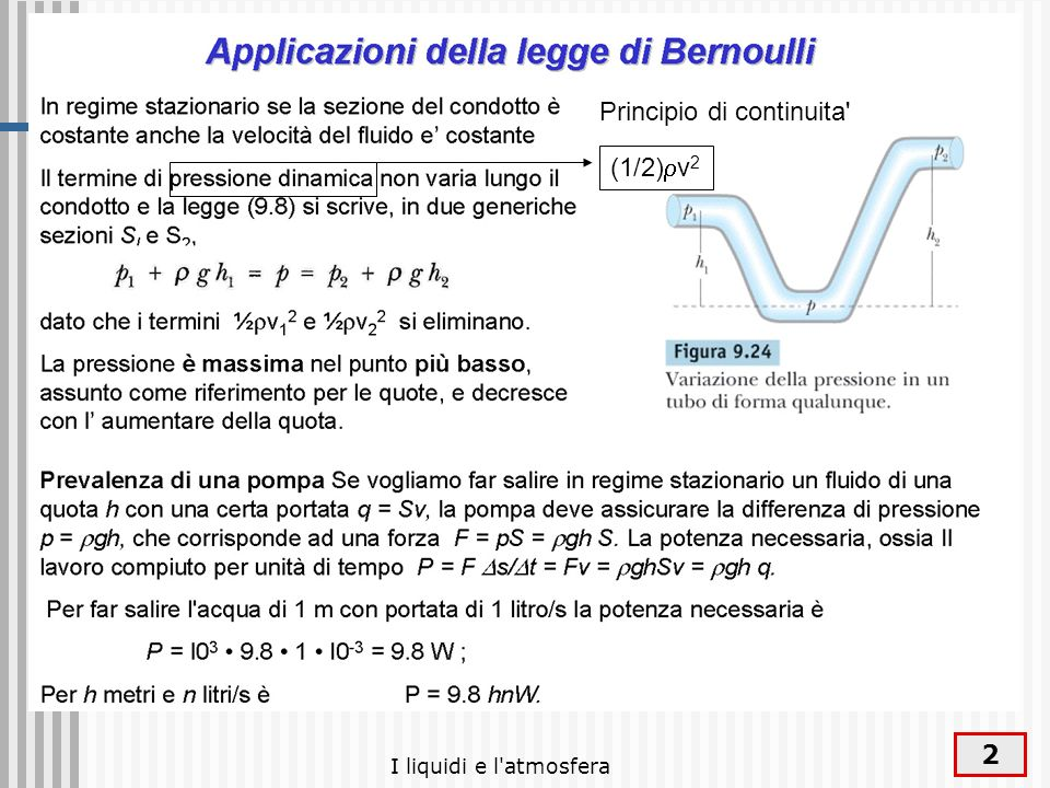 I liquidi e l'atmosfera 2 (1/2) v 2 Principio di continuita'