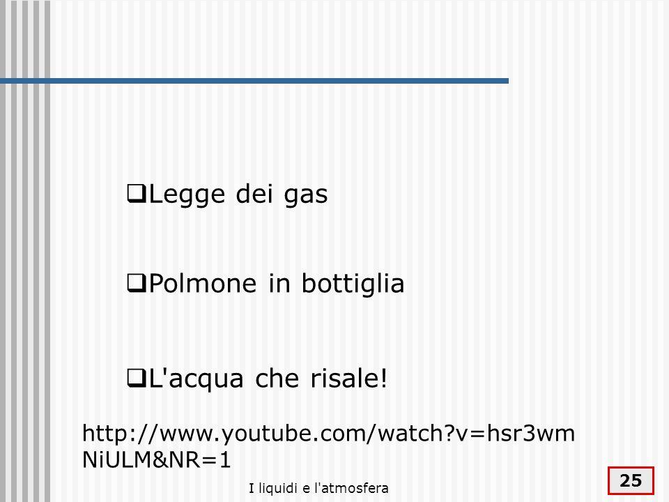 I liquidi e l'atmosfera 25 Polmone in bottiglia Legge dei gas L'acqua che risale! http://www.youtube.com/watch?v=hsr3wm NiULM&NR=1