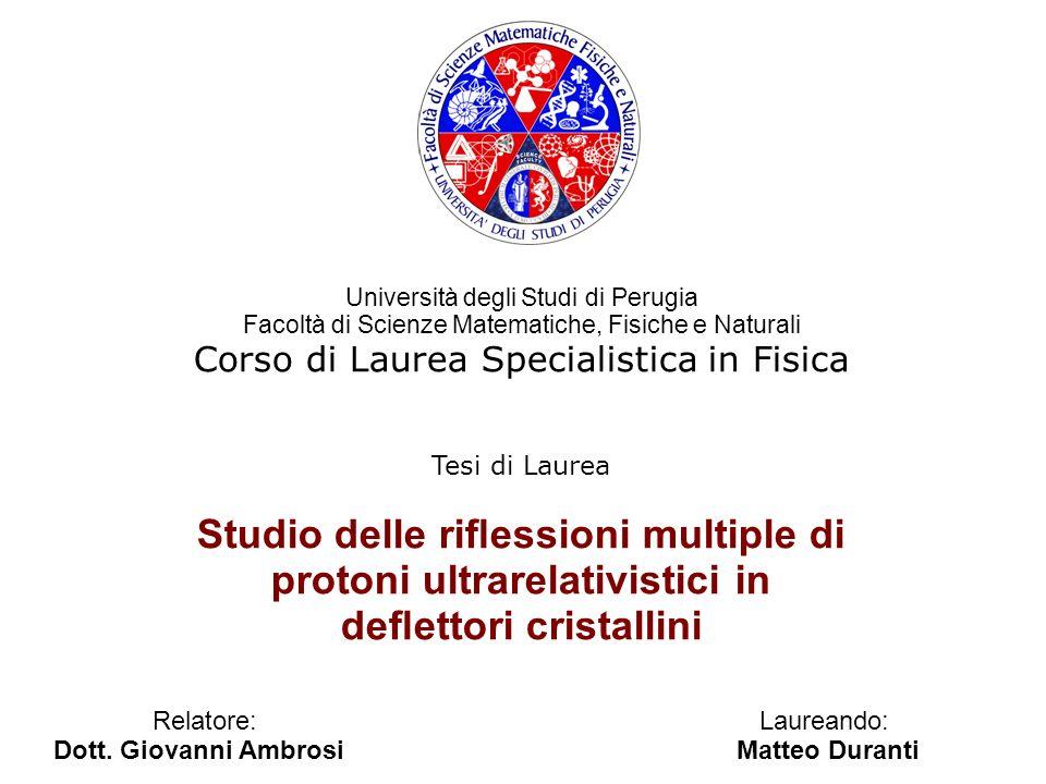 Tesi di Laurea Studio delle riessioni multiple di protoni ultrarelativistici in deettori cristallini Relatore: Laureando: Dott. Giovanni Ambrosi Matte