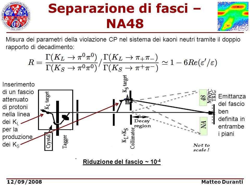 12/09/2008 Matteo Duranti Separazione di fasci – NA48 Misura dei parametri della violazione CP nel sistema dei kaoni neutri tramite il doppio rapporto