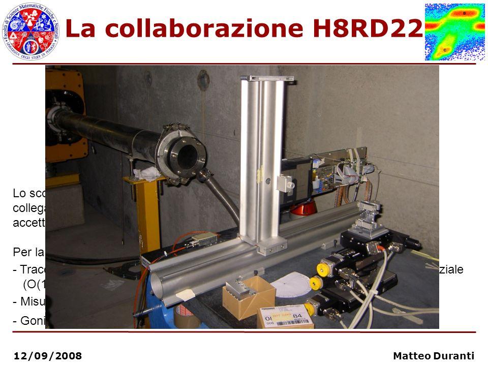 12/09/2008 Matteo Duranti La collaborazione H8RD22 Lo scopo della collaborazione è la misura di precisione delle grandezze fisiche collegate ai fenome