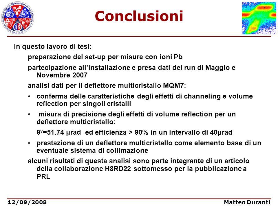12/09/2008 Matteo Duranti Conclusioni In questo lavoro di tesi: preparazione del set-up per misure con ioni Pb partecipazione allinstallazione e presa