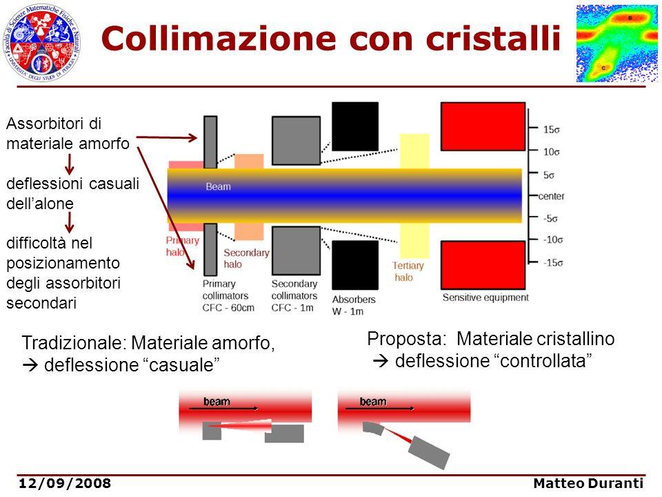12/09/2008 Matteo Duranti Potenziale Reticolare In un un materiale cristallino il campo medio coulombiano tra due piani reticolari può essere approssimato con un canale parabolico: Lenergia potenziale per una particella carica positivamente allinterno del canale può essere scritto come: