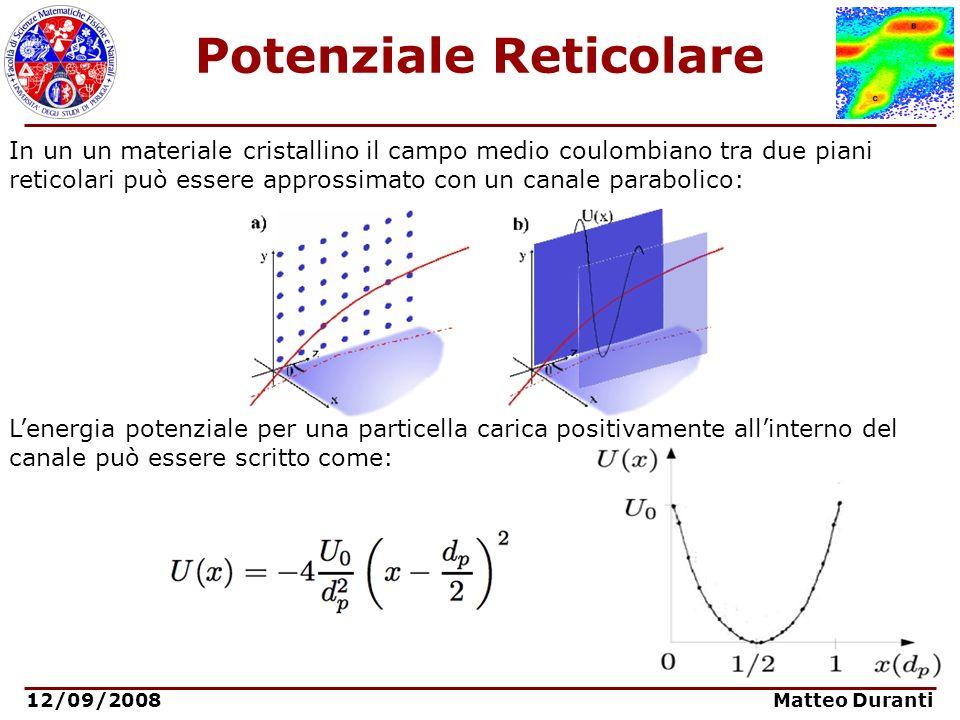 12/09/2008 Matteo Duranti Channeling: angolo critico Una particella incidente con un piccolo angolo rispetto agli assi di simmetria del cristallo può essere confinata tra due piani cristallini Le condizioni cinematiche per il confinamento dipendono dal momento trasverso e dall altezza della buca di potenziale: In Si, W, Ge: Angolo critico di Lindhard