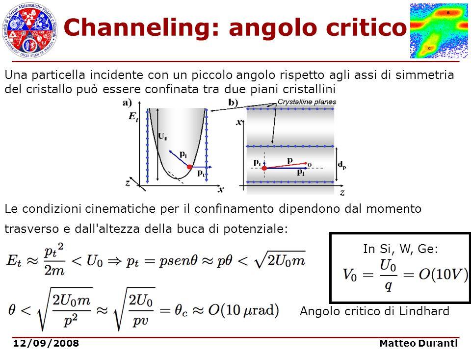12/09/2008 Matteo Duranti Channeling: angolo critico Una particella incidente con un piccolo angolo rispetto agli assi di simmetria del cristallo può