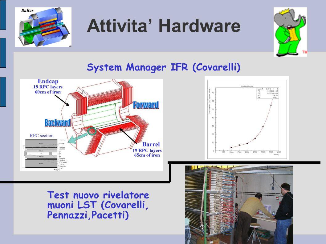 Attivita Hardware System Manager IFR (Covarelli) Test nuovo rivelatore muoni LST (Covarelli, Pennazzi,Pacetti)