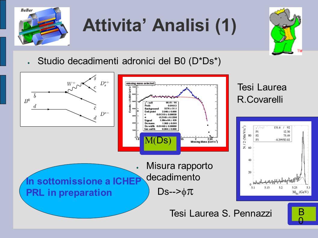 Attivita Analisi (1) Studio decadimenti adronici del B0 (D*Ds*) Misura rapporto decadimento Ds--> Tesi Laurea R.Covarelli Tesi Laurea S. Pennazzi Ds B