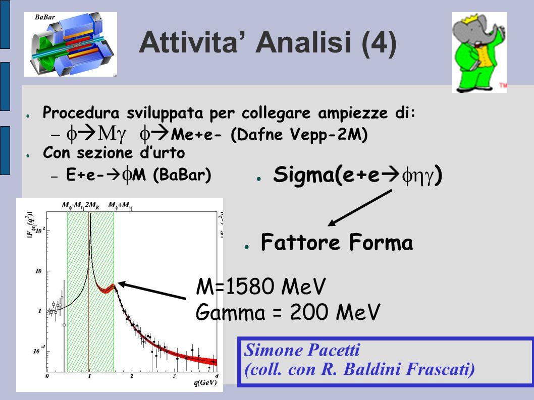 Attivita Analisi (4) Procedura sviluppata per collegare ampiezze di: – Me+e- (Dafne Vepp-2M) Con sezione durto – E+e- M (BaBar) Simone Pacetti (coll.