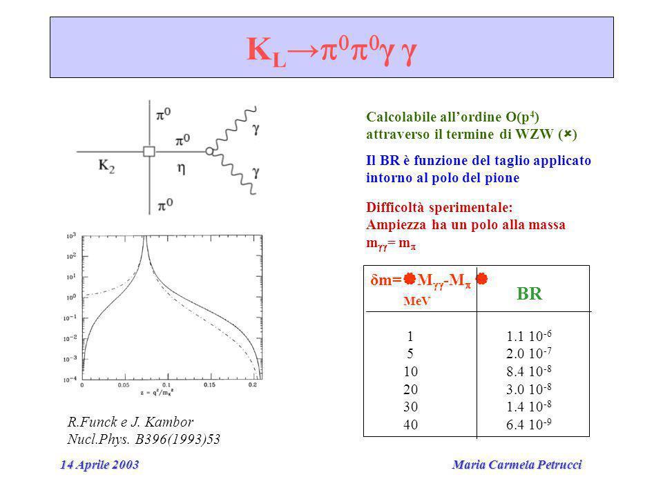 Maria Carmela Petrucci 14 Aprile 2003 K L γ γ Calcolabile allordine O(p 4 ) attraverso il termine di WZW ( ) R.Funck e J.