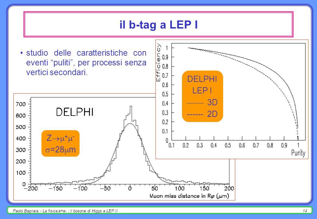 Paolo Bagnaia - La fisica e+e- : il bosone di Higgs a LEP II14 il b-tag a LEP I studio delle caratteristiche con eventi puliti, per processi senza vertici secondari.